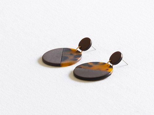 Audette Two Tone Resin Earrings - Brown/Tortoise Shell