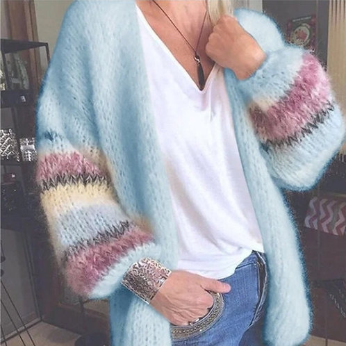 Blue Knitted Cardigan with Contrast Sleeves.