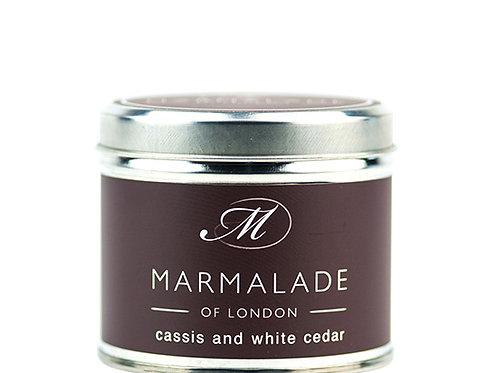Cassis and White Cedar Tin Candle - Medium