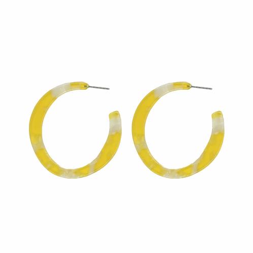 Galla Hoop Resin Earrings - Yellow