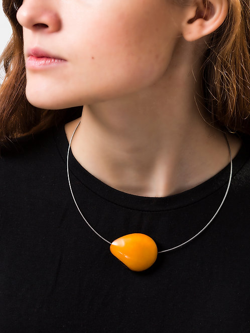 Flattened Tagua seed Wire Necklace - Yellow