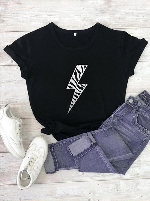 Silver Lightening Bolt T-Shirt - Black