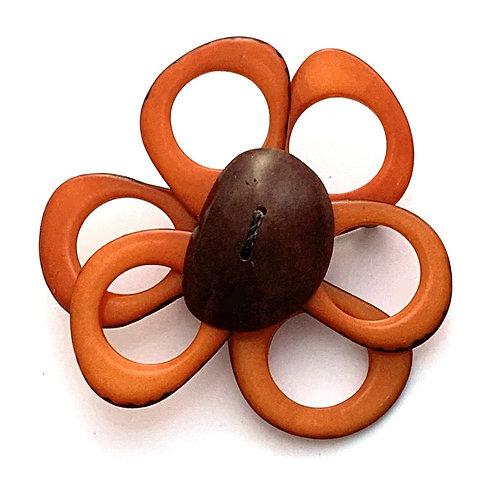 Flower Brooch - Orange