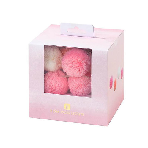 Pink & White Pom Pom Lights