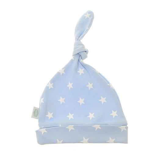 Blue with White Stars Cotton Baby Hat