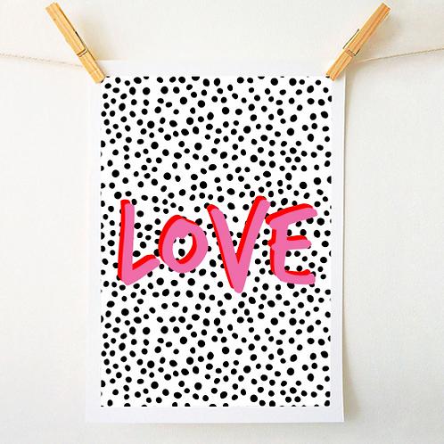 'Love' Polka Dot Print