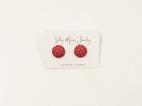 Silky Moons Round Stud Earrings - Red/White Polka Dots
