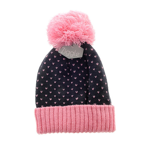 Navy and Pink Hearts Hat