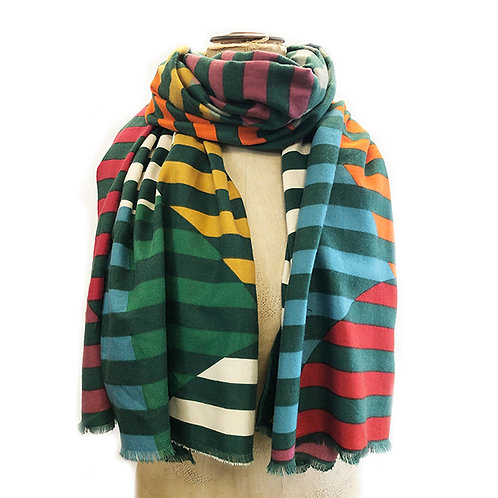 Supersoft Multi Contrast Stripe Scarf - Green/Multi