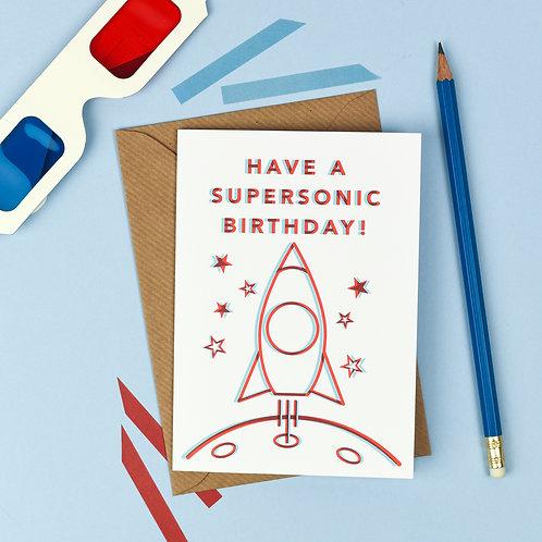 3D Rocketship Birthday Card