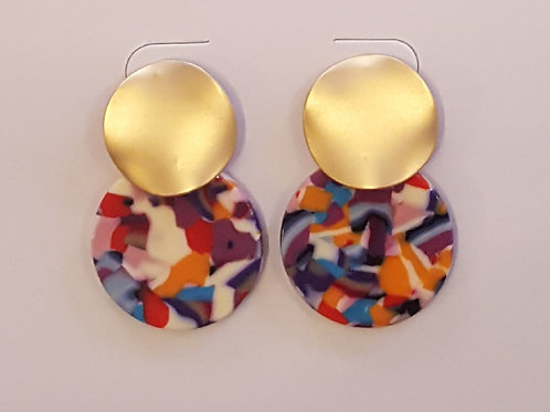 Blisse Two Tone Earrings - Multi/Gold