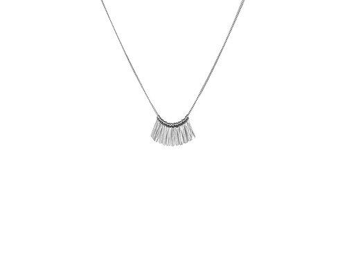 Alicia Mini Fringe Necklace - Silver