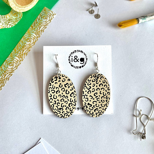 Beige and Black Cheetah Print Oval Dangle Hand Painted Wooden Earrings