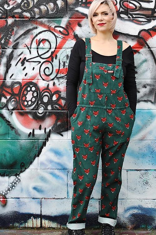 Fox Corduroy Dungarees - Bottle Green