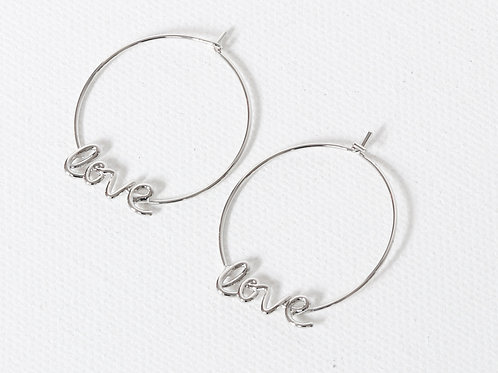 Melania Love Hoop Earrings - Silver