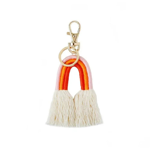 Rainbow Tassel Keyring - Orange