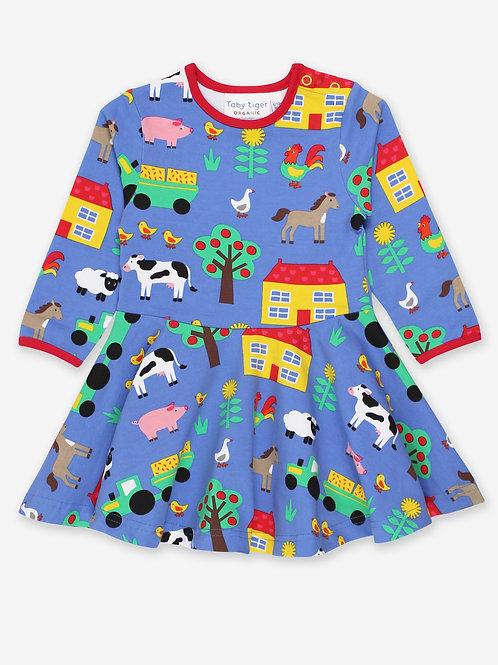 Organic Farm Print Long Sleeve Skater Dress