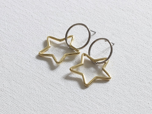 Benoite Two Tone Star Small Earrings - Silver/Gold