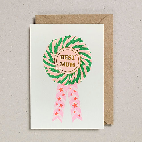 Best Mum Rosette Card