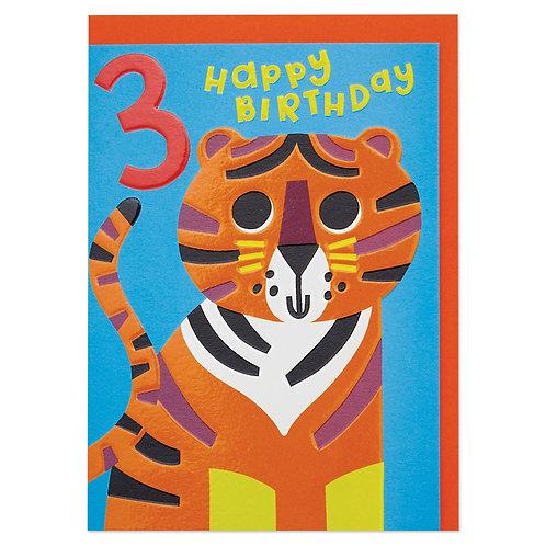 Colourful Tiger Age 3 Children's Birthday Card