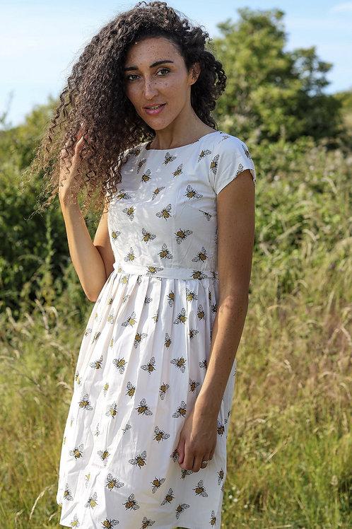 Cream with Bee Print Tea Dress