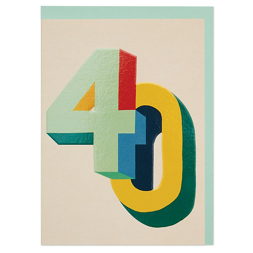 Bright Colourful 3D Numbers Age 40 Birthday Card