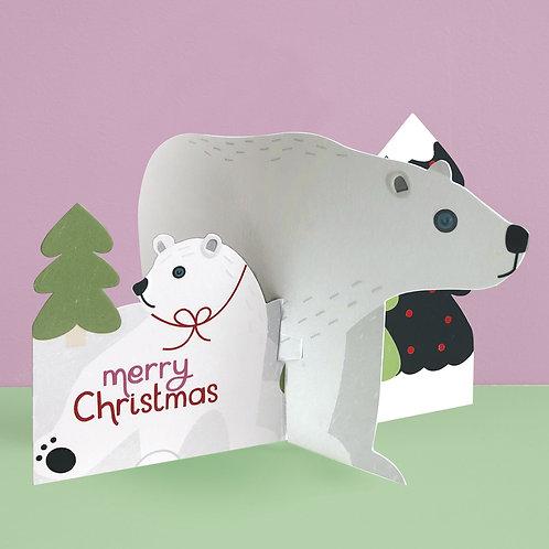 'Merry Christmas' Polar Bear 3D fold-out Christmas card