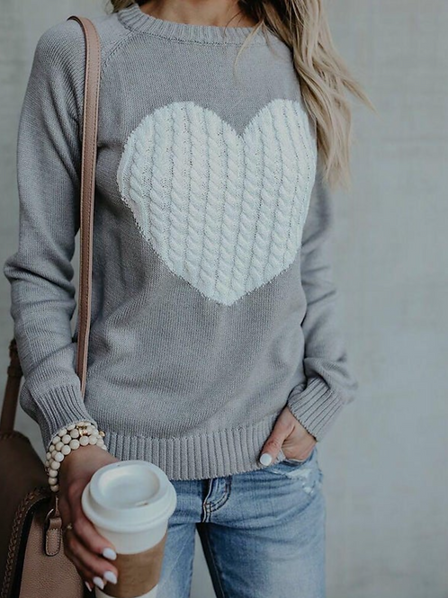 Grey Knitted Jumper with Contrast Cream Cable Knit Heart