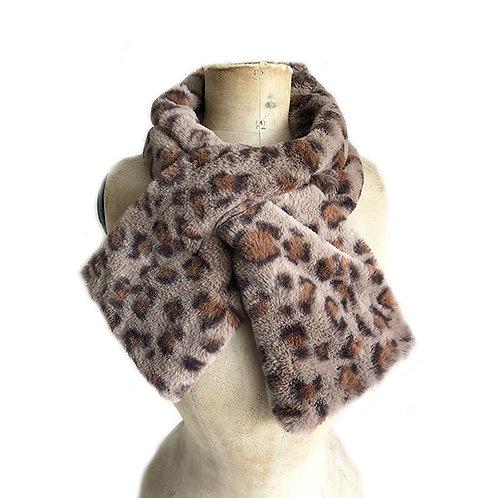 Leopard Print Faux Fur Thread Through Scarf - Brown
