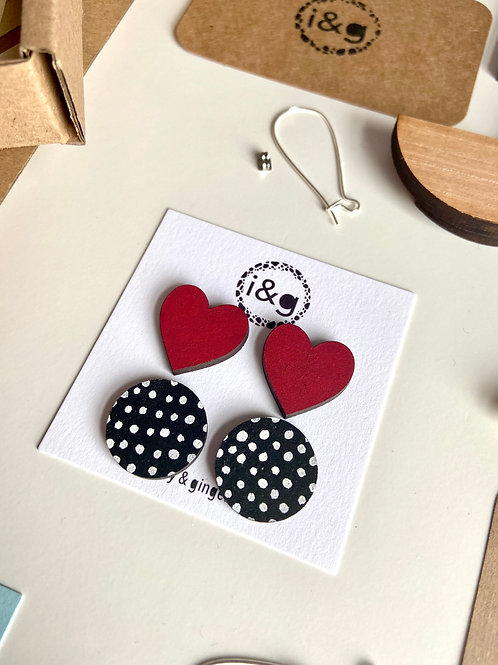 Red Heart and Black and White Polka Dot Wooden Stud Set