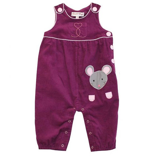 Mouse Applique Cord Dungarees