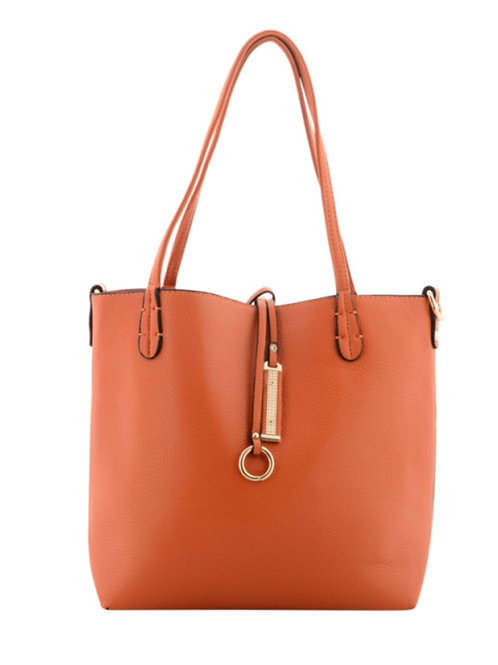 Orange/Navy Reversible Faux Leather Tote Bag