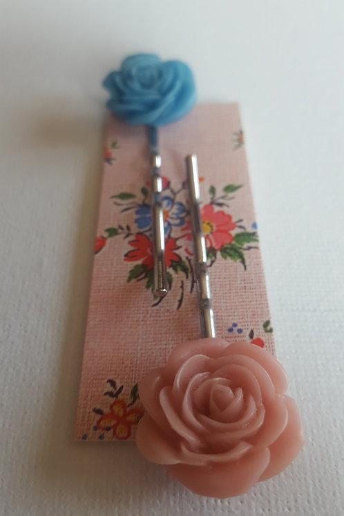 Acorn & Will Esme Hair Slides  - Muted Pink/Bright Blue