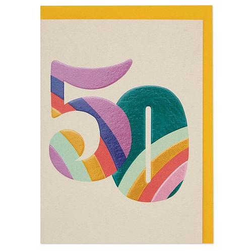 Colourful Rainbow Numbers Age 50 Birthday Card