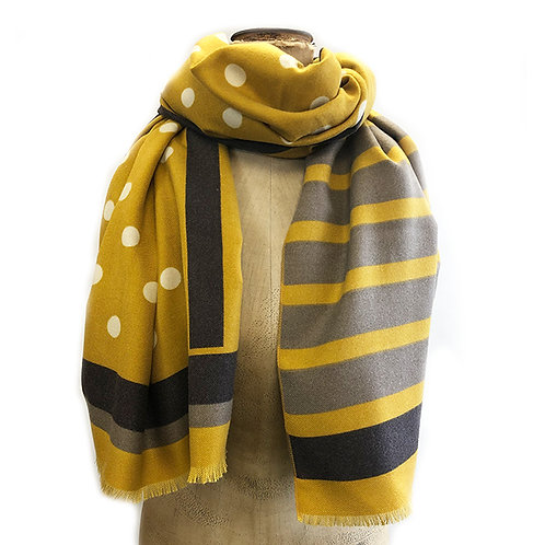 Supersoft Polka Dot/Stripe Heavy Weight Scarf - Mustard/Grey