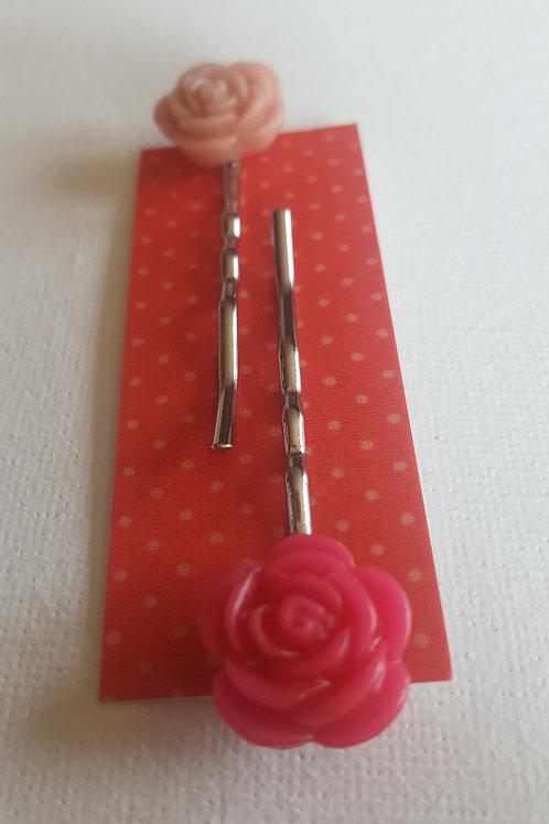 Acorn & Will Esme Hair Slides Small  - Vivid Pink/Peach