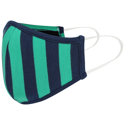 Green and Navy Stripe Cotton Jersey Face Mask