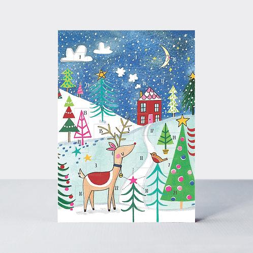 Advent Calendar Card - Reindeer Scene