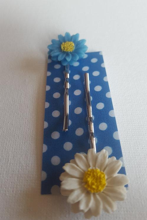 Acorn & Will Hazy Daisy Hair Slides - Bright Blue/White