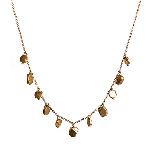 Gold Nugget Row Necklace