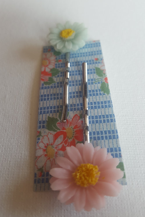Acorn & Will Hazy Daisy Hair Slides - Pale Pink/ Pale Blue