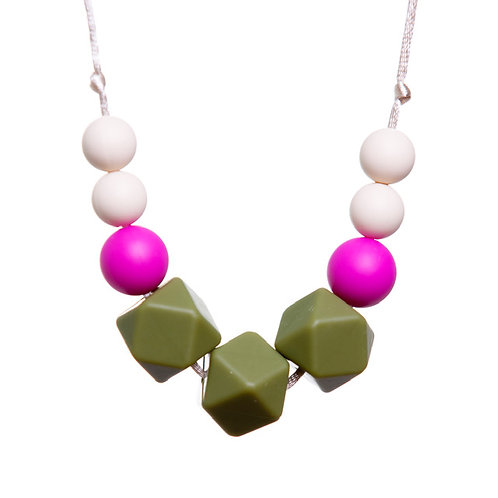 Gwyneth Teething Necklace - Olive & Pink