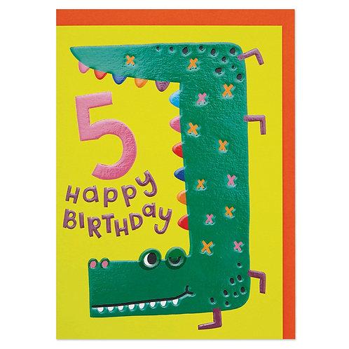 Happy Smiling Age 5 Children's Birthday Card