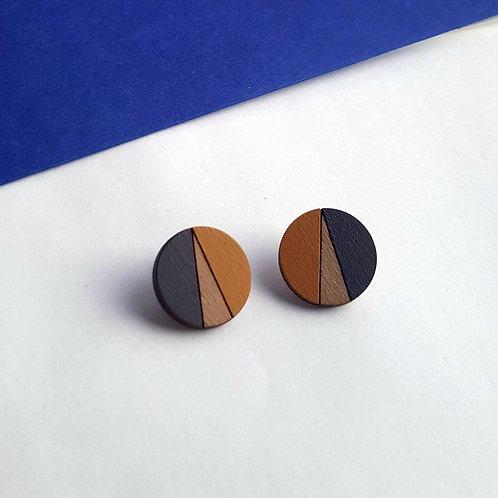 Statement Geometric Circle Earrings - Mustard/Grey