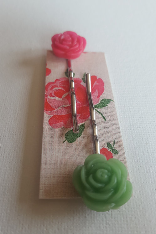 Acorn & Will Esme Hair Slides Small  - Vivid Pink/Green