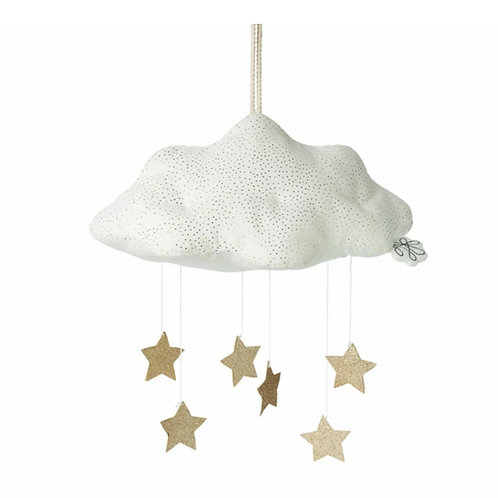 White Cloud with Gold Stars Mobile
