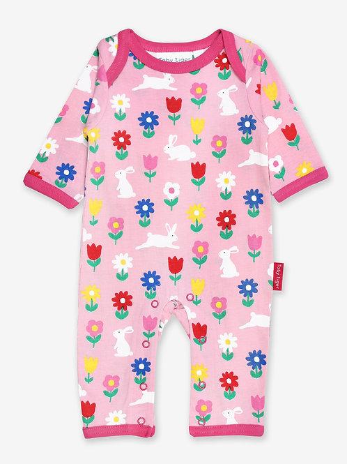 Organic Bunny Print Sleepsuit
