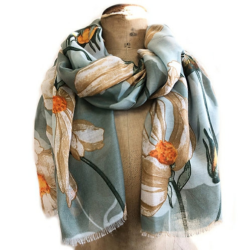 Blowsy Blooms Scarf - Teal/Marigold