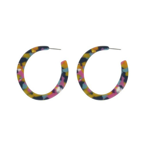 Theodora Semi Cut Out Resin Hoop Earrings - Purple/Blue