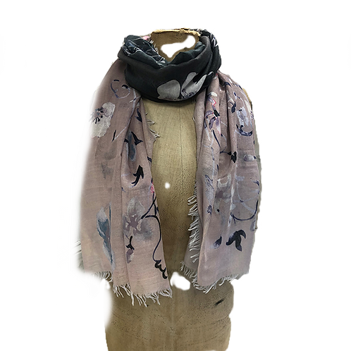 Ombre tone waterfall flowers digital print scarf